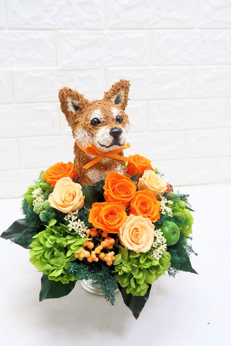 柴犬 プリザーブドフラワー お供え花